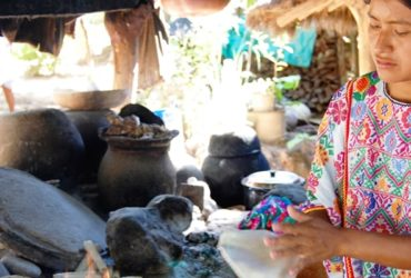 Amuzgo woman in Xochistlahuaca, Guerrero wearing an Amuzgo huipil